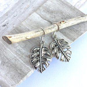 Silver Monstera Leaf Charm Earrings